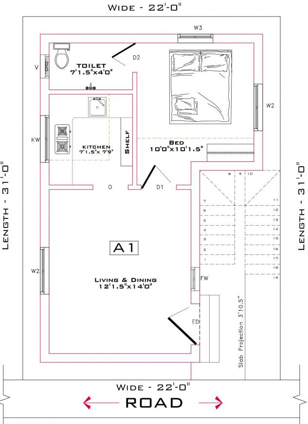 KPN Ekansha Avenue Floor Plan: 1 BHK Unit with Built up area of 480 sq.ft 1