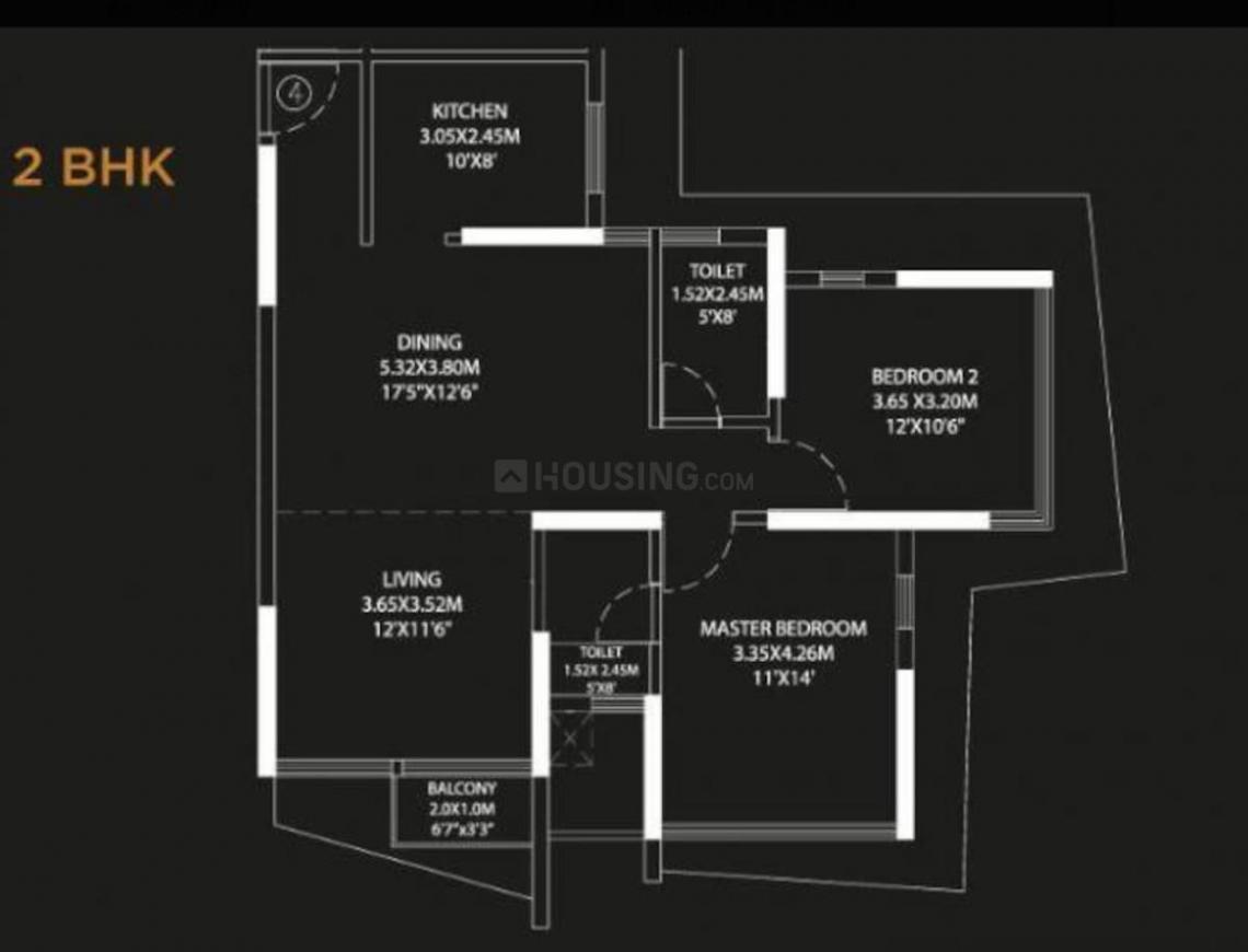 Suraj Palette Floor Plan: 2 BHK Unit with Built up area of 905 sq.ft 1