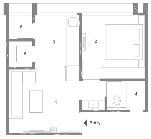 Sun Simpolo Floor Plan: 1 BHK Unit with Built up area of 585 sq.ft 1