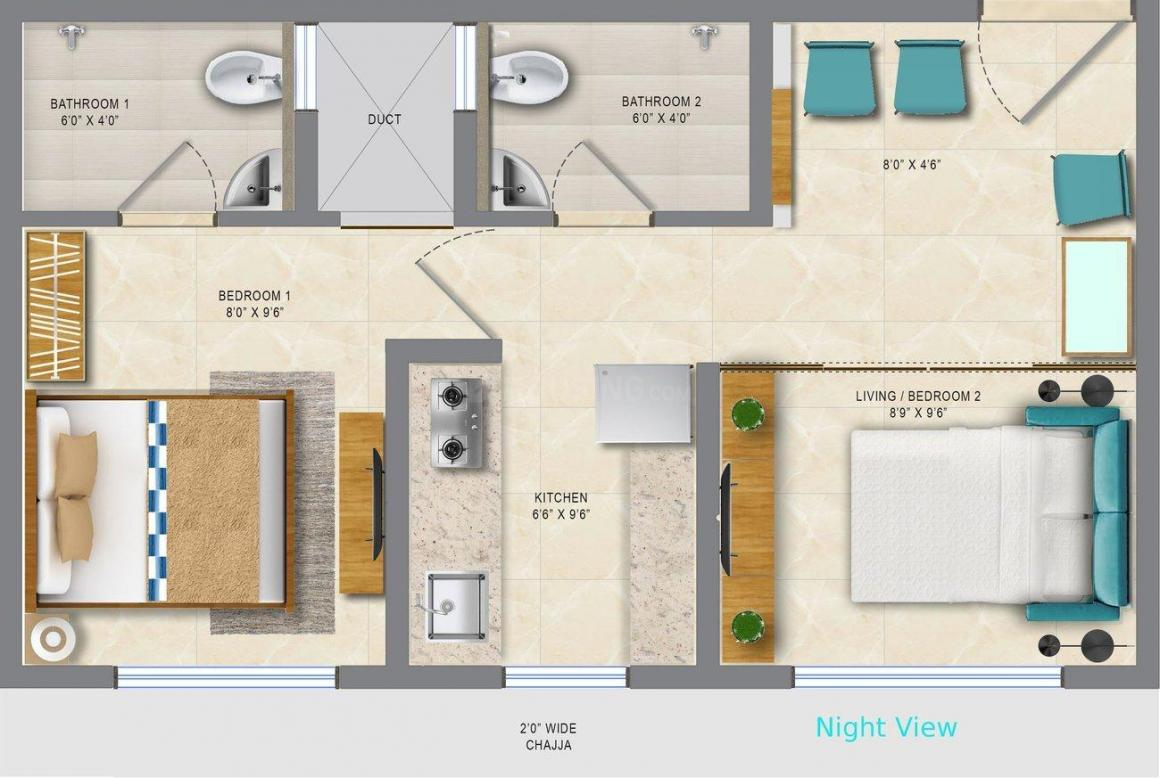 Vardhan Heights Floor Plan: 1 BHK Unit with Built up area of 320 sq.ft 2