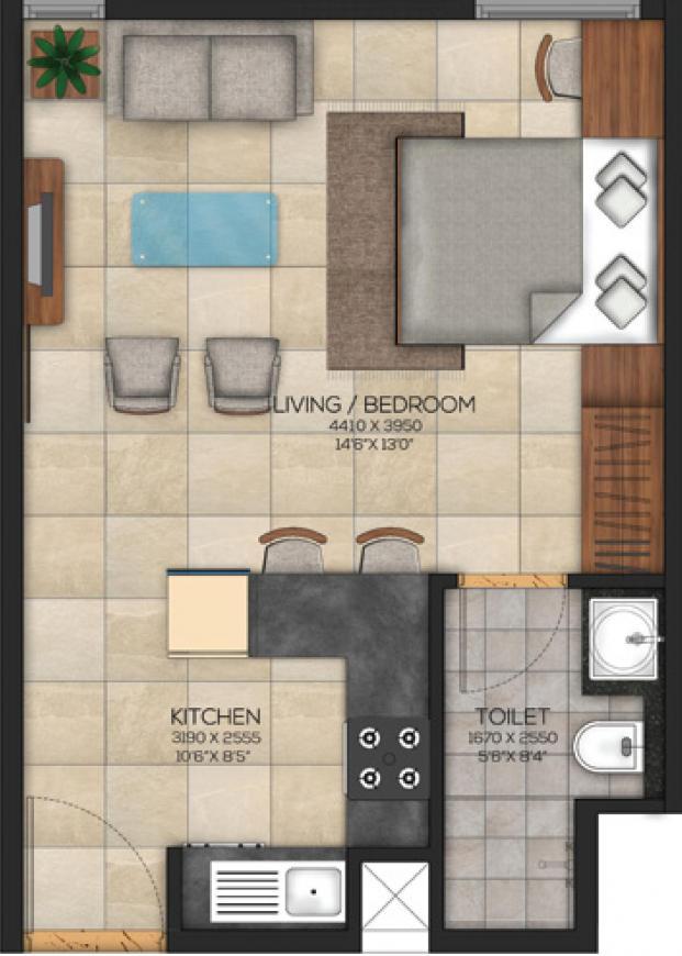 Paradise at Brigade Cornerstone Utopia Floor Plan: 1 BHK Unit with Built up area of 322 sq.ft 1