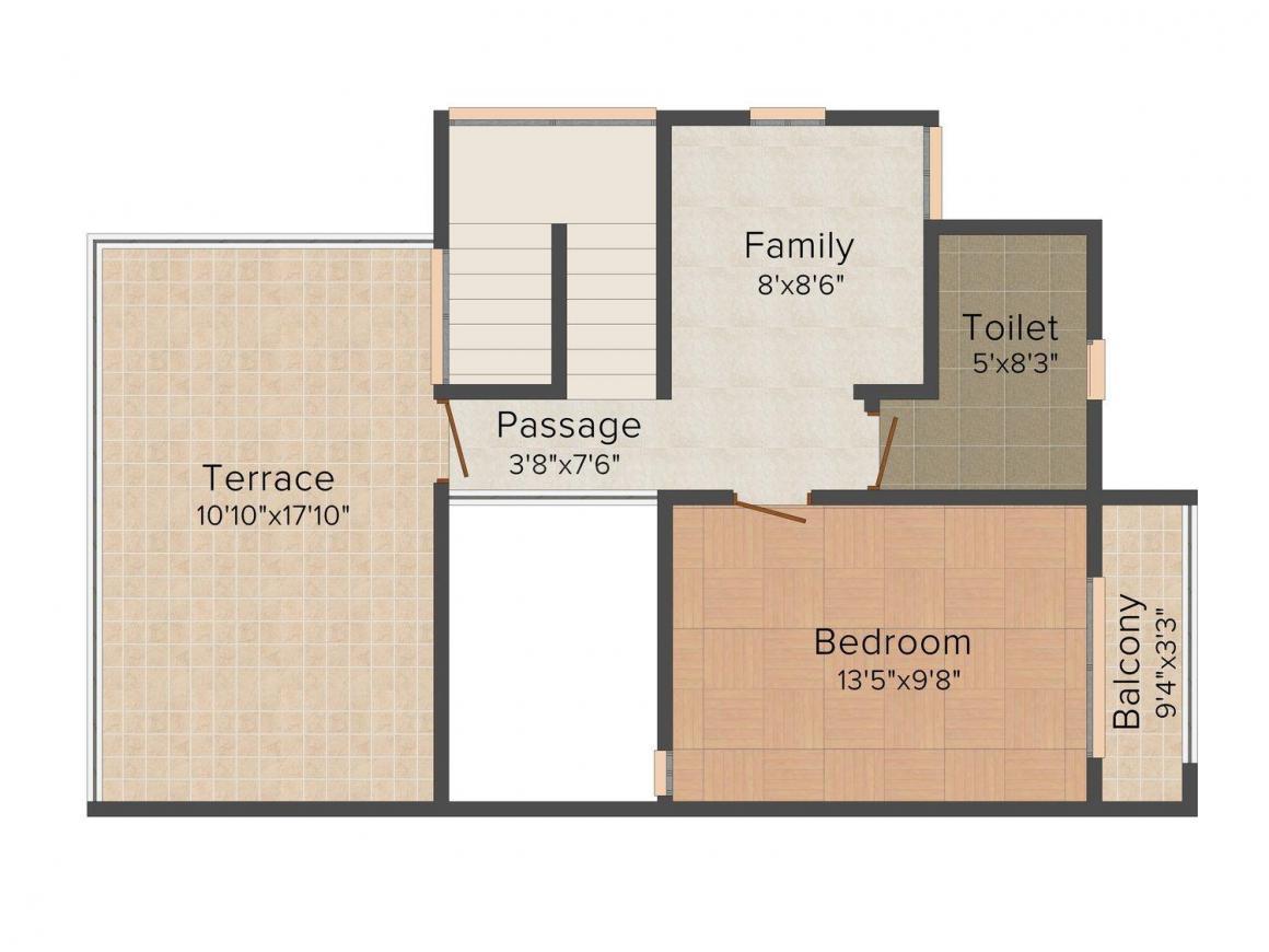 Floor Plan Image of 1048.0 - 1518.0 Sq.ft 2 BHK Villa for buy in Maitreya Pandav Van