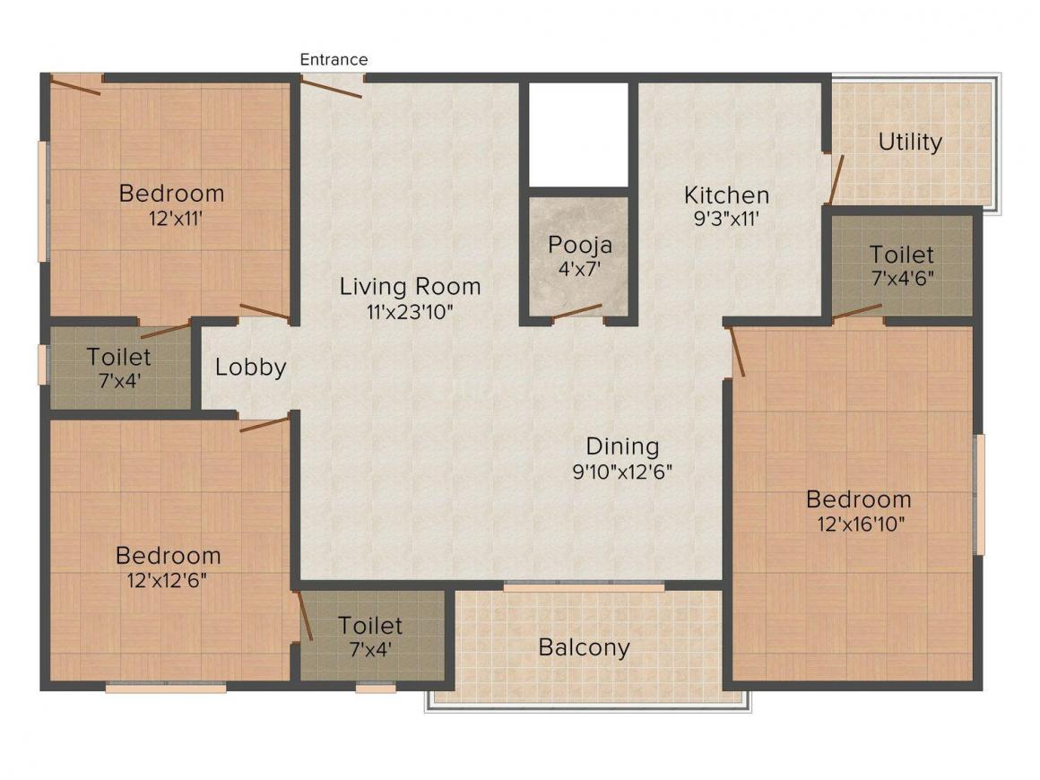 SV Constructions Floor Plan: 3 BHK Unit with Built up area of 1675 sq.ft 2