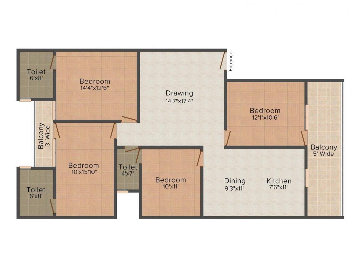 Beaver Homes Floor Plan: 4 BHK Unit with Built up area of 1750 sq.ft 1
