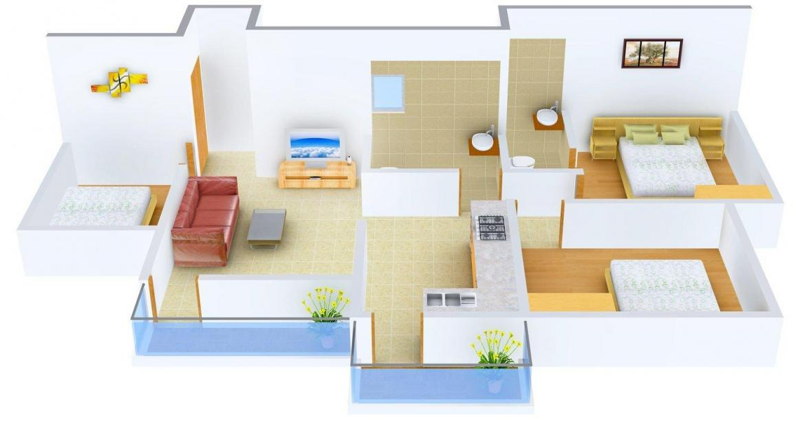 Floor Plan Image of 0 - 839.0 Sq.ft 3 BHK Apartment for buy in Roongta Shree Tirumala Plaza