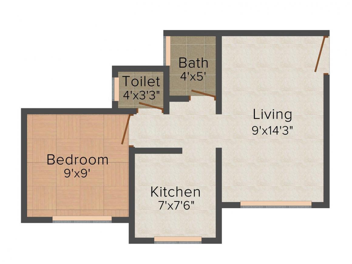 Sai Samrat Yashwant Sankalp Floor Plan: 1 BHK Unit with Built up area of 500 sq.ft 1
