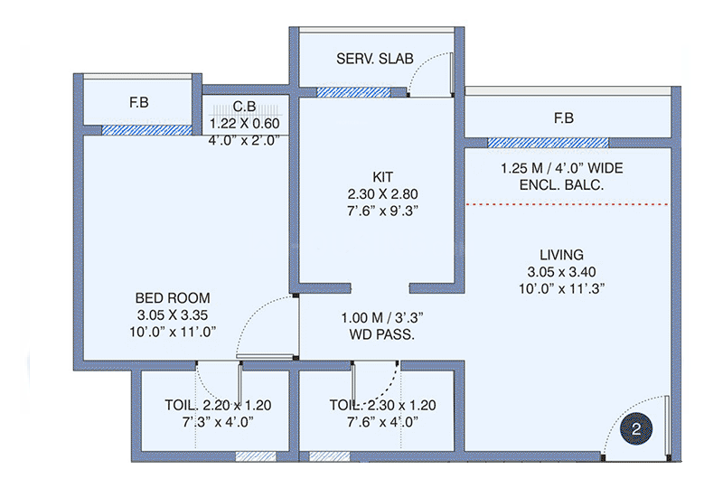 Cosmos Meluha Floor Plan: 1 BHK Unit with Built up area of 451 sq.ft 1
