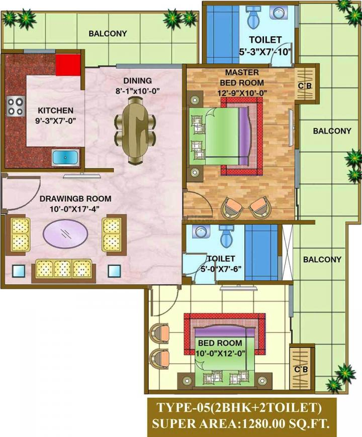 Nandini The Vasundhara Grand Floor Plan: 2 BHK Unit with Built up area of 1280 sq.ft 1