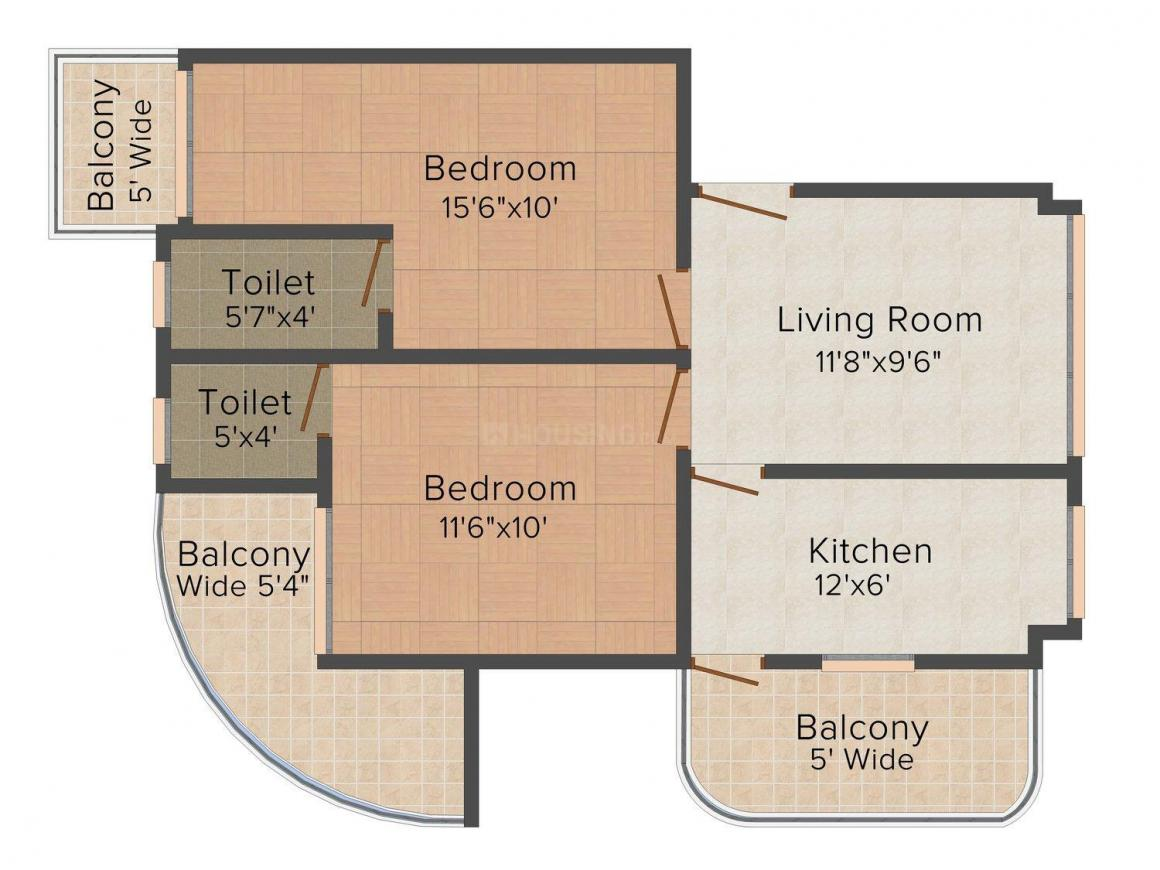 Floor Plan Image of 988 - 1261 Sq.ft 2 BHK Apartment for buy in Gangwani Nest