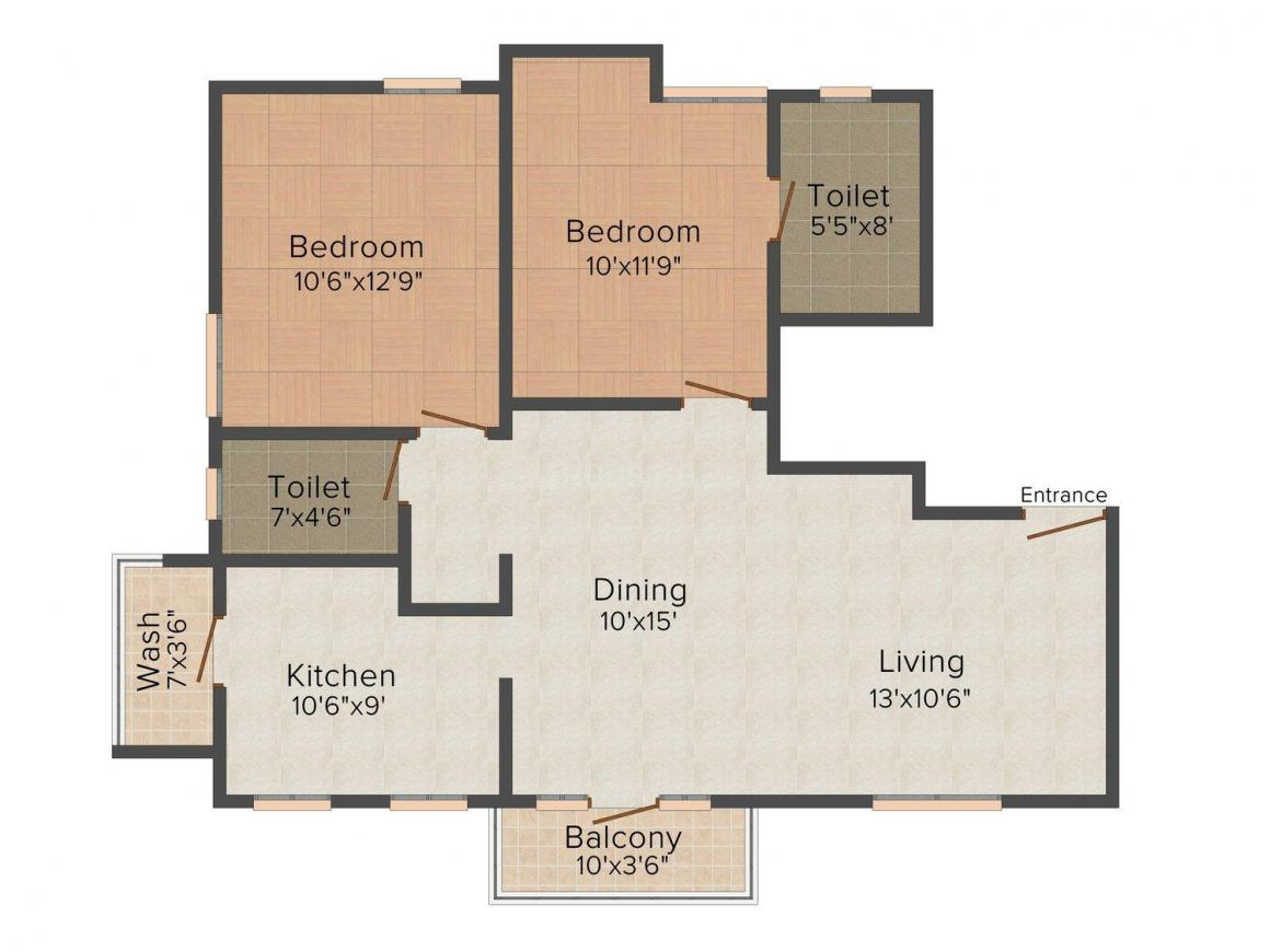 Floor Plan Image of 1175.0 - 1455.0 Sq.ft 2 BHK Apartment for buy in AN Nungambakkam