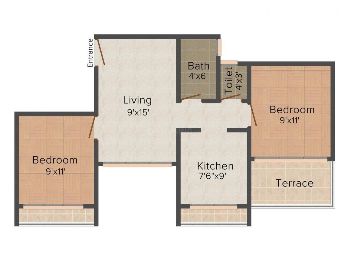 Home Land Vaibhavi Residency Floor Plan: 2 BHK Unit with Built up area of 850 sq.ft 1