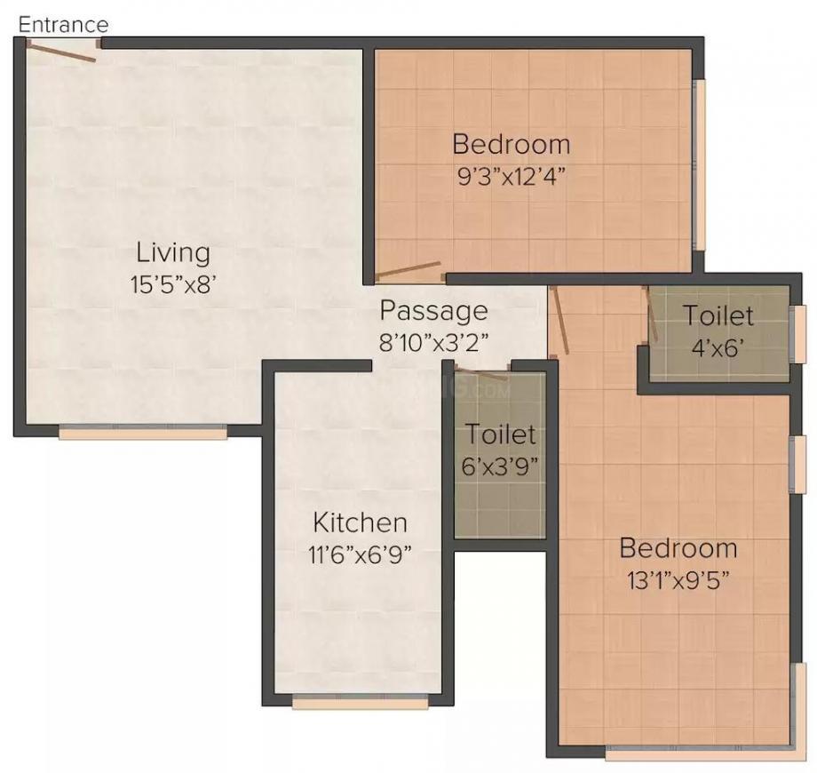 Kamla Kamla Leelaraj Floor Plan: 2 BHK Unit with Built up area of 580 sq.ft 1