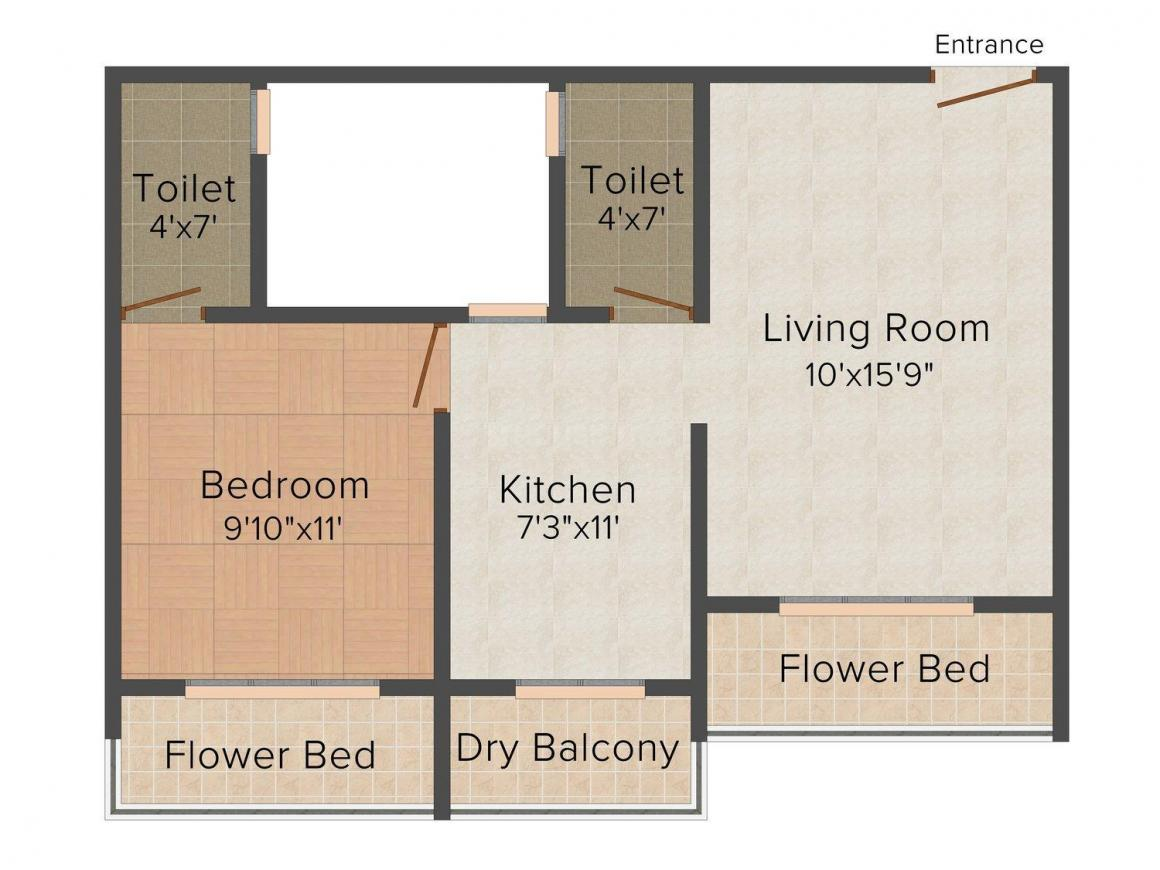 Floor Plan Image of 749.0 - 1088.0 Sq.ft 1 BHK Apartment for buy in Shree Jalaram Allure