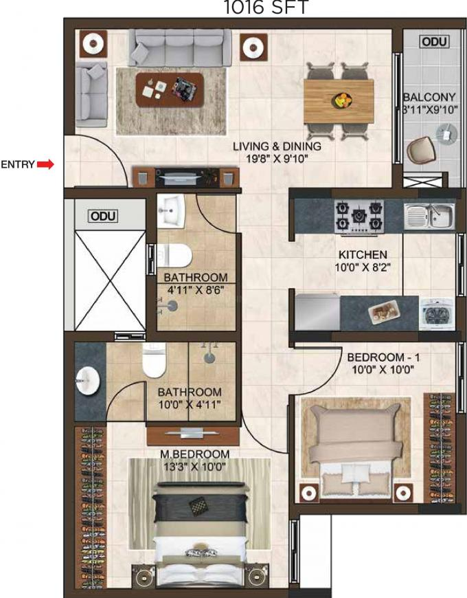 Casagrand Lorenza Floor Plan: 2 BHK Unit with Built up area of 1016 sq.ft 1
