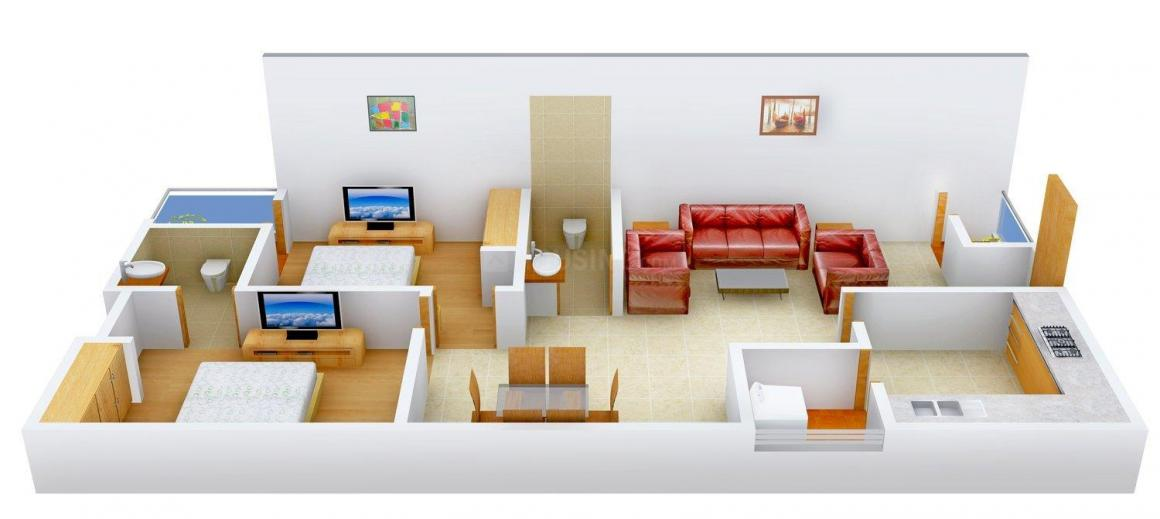 RV Mrinalini Floor Plan: 2 BHK Unit with Built up area of 1135 sq.ft 1