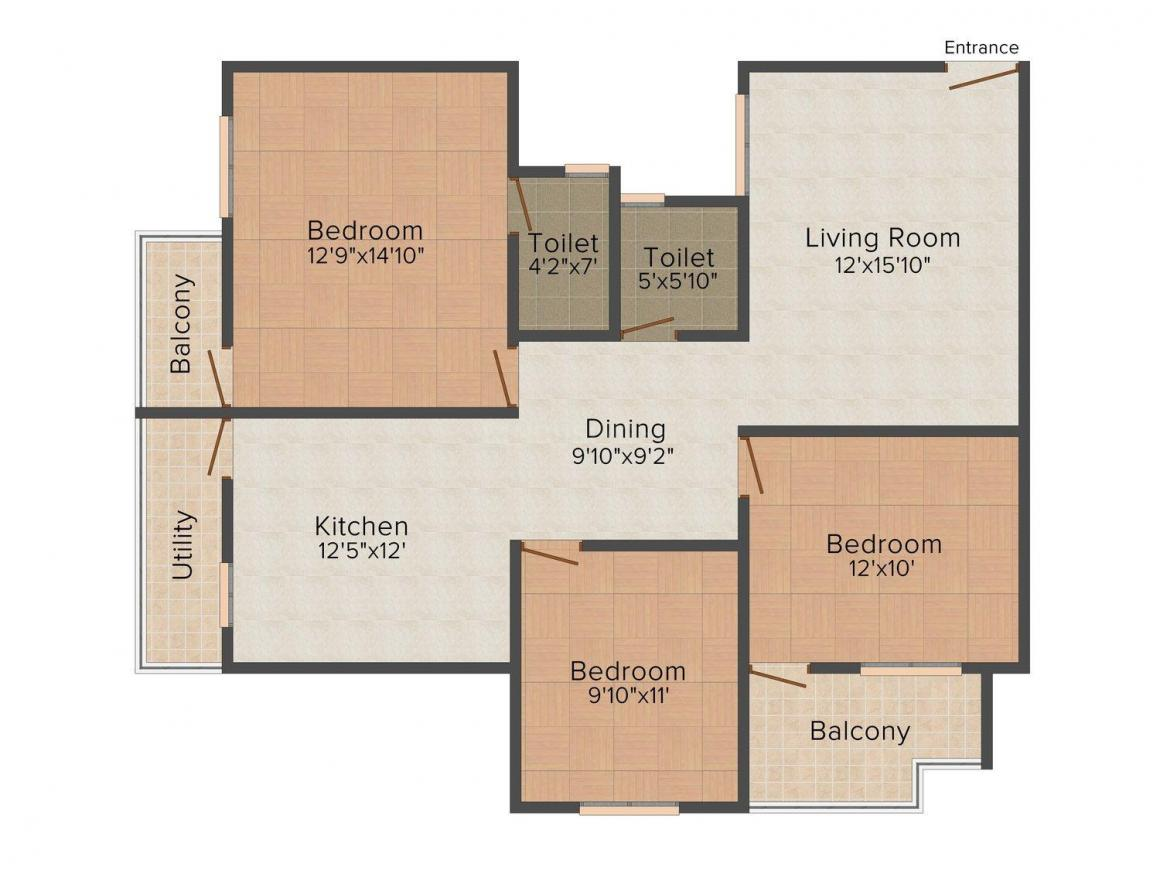Floor Plan Image of 1025 - 1555 Sq.ft 2 BHK Apartment for buy in GCN Green Springs