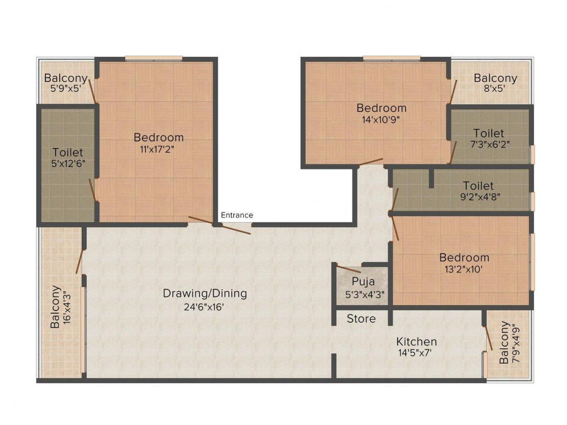 Floor Plan Image of 0 - 1900 Sq.ft 3 BHK Apartment for buy in Chandra Awas Trade Wings