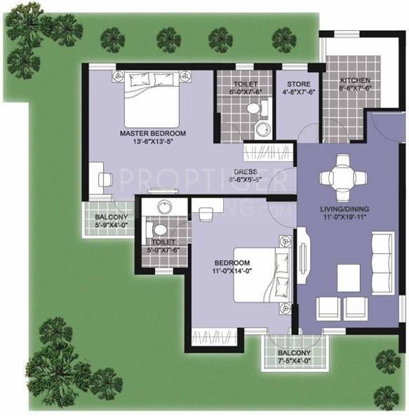 Unitech Vistas Floor Plan: 2 BHK Unit with Built up area of 1175 sq.ft 1