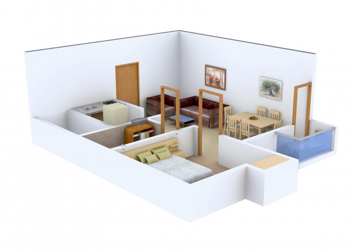 Shri Janani Blue Bells Floor Plan: 1 BHK Unit with Built up area of 577 sq.ft 1
