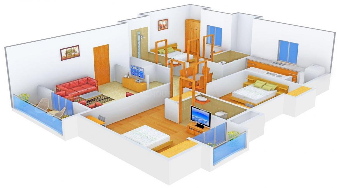 Floor Plan Image of 1669.0 - 1704.0 Sq.ft 3 BHK Apartment for buy in Mahalakshmi Vruksham