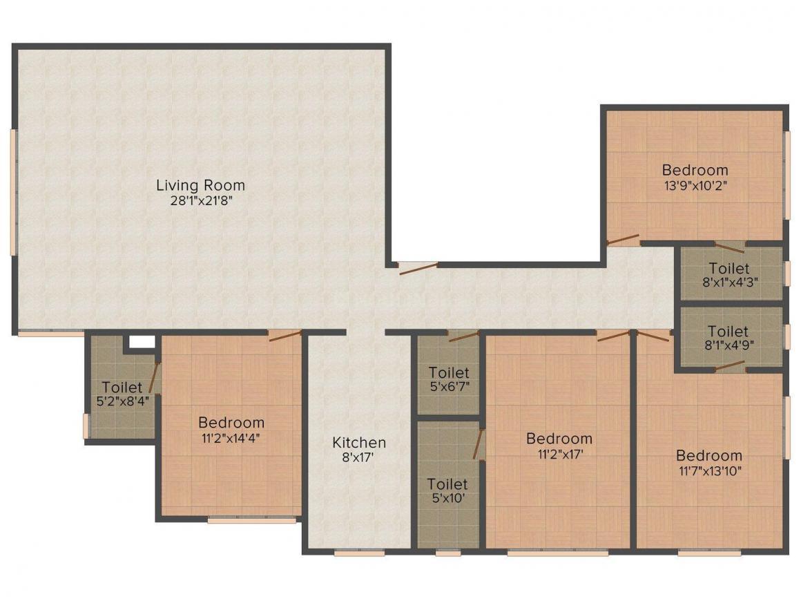 Floor Plan Image of 777.8 - 1710 Sq.ft 1 BHK Apartment for buy in Parinee Aria