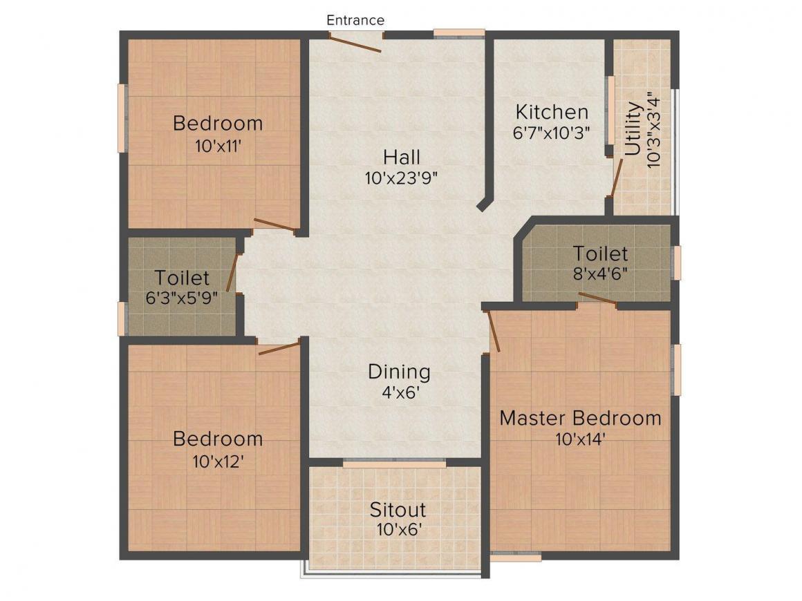 Jai Wardhan Floors - 7 Floor Plan: 3 BHK Unit with Built up area of 1200 sq.ft 1