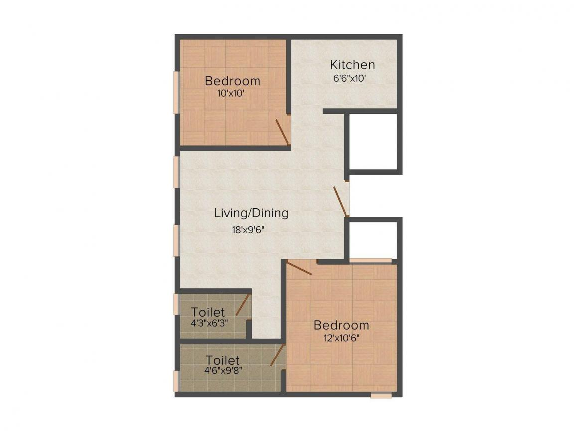 Floor Plan Image of 820 - 1180 Sq.ft 2 BHK Apartment for buy in Sri Pearls