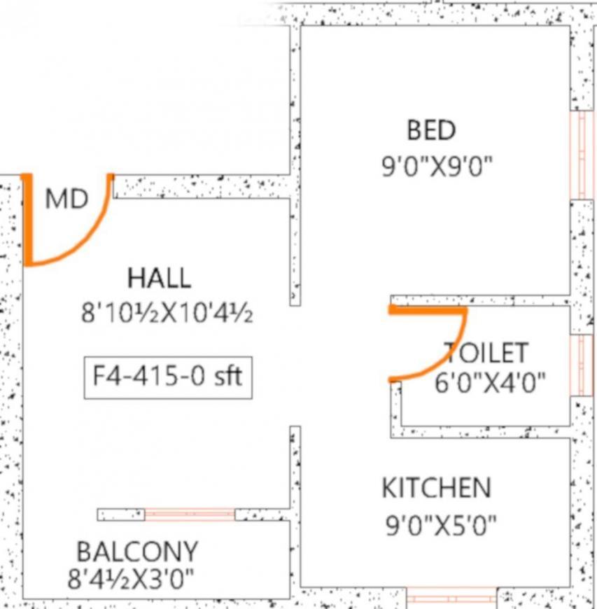 Crest Juris Floor Plan: 1 BHK Unit with Built up area of 415 sq.ft 1