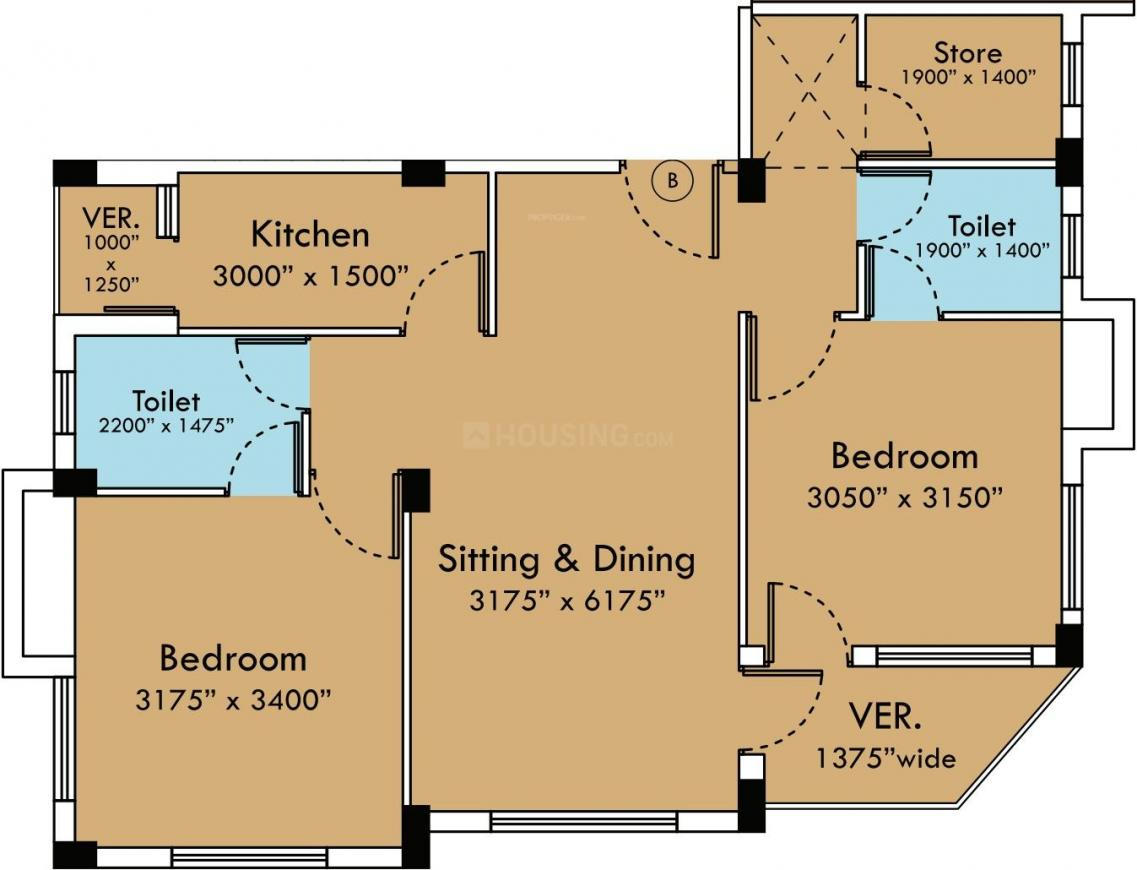 SGA Projects Hemlata Floor Plan: 2 BHK Unit with Built up area of 1120 sq.ft 1