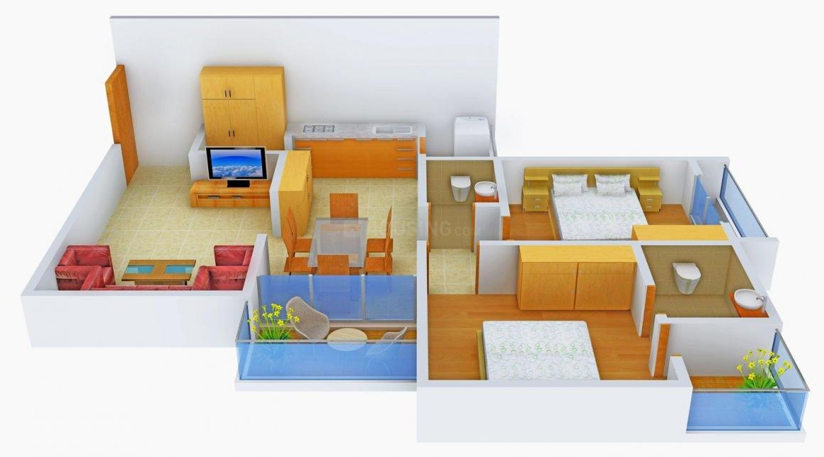 Shayona Tilak IV Floor Plan: 2 BHK Unit with Built up area of 1305 sq.ft 1