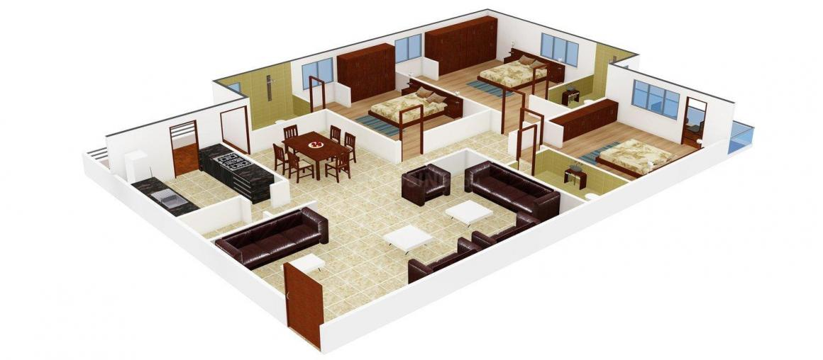 Floor Plan Image of 0 - 1640.0 Sq.ft 3 BHK Apartment for buy in Shri Krishna Residency