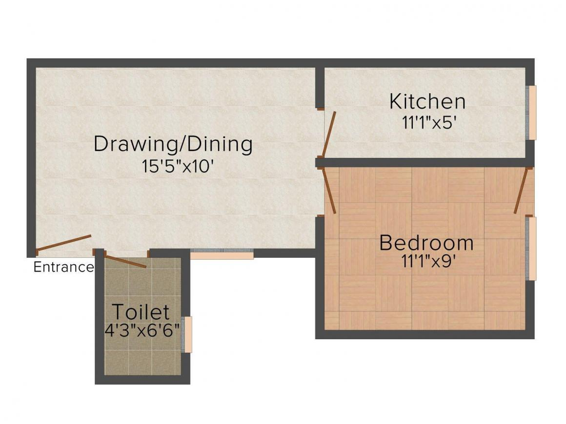 Floor Plan Image of 0 - 450 Sq.ft 1 BHK Independent Floor for buy in GND Apartment - 1