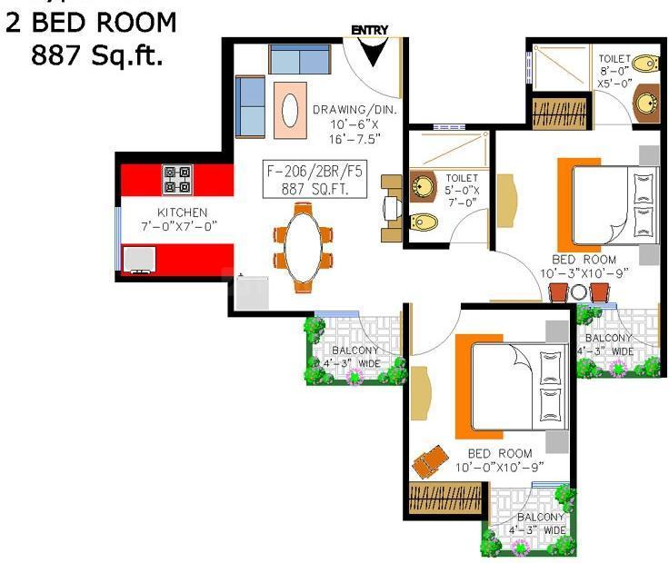 Rishabh Cloud9 Towers Floor Plan: 2 BHK Unit with Built up area of 887 sq.ft 1