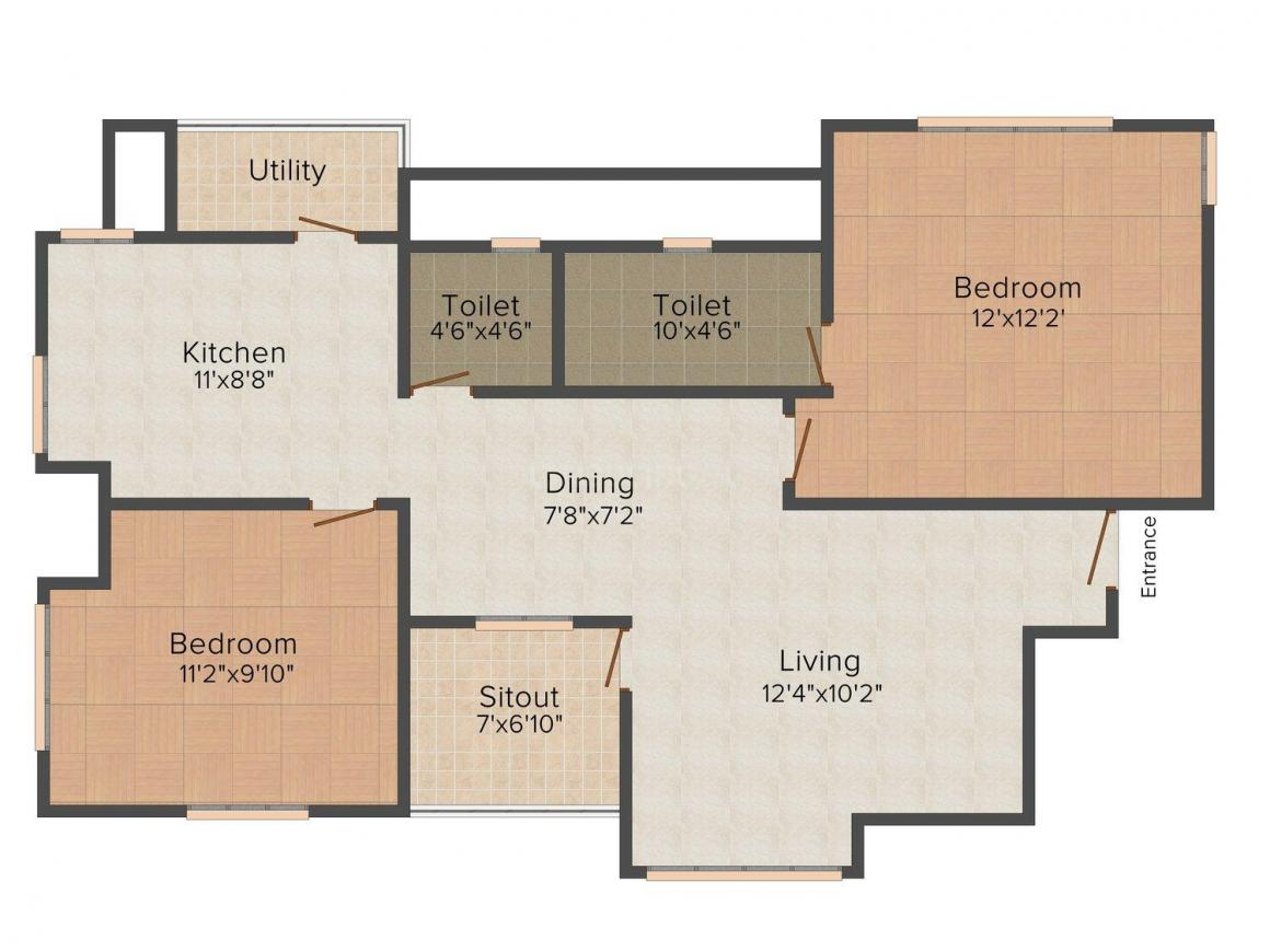 Sai's Windflower Floor Plan: 2 BHK Unit with Built up area of 1171 sq.ft 1