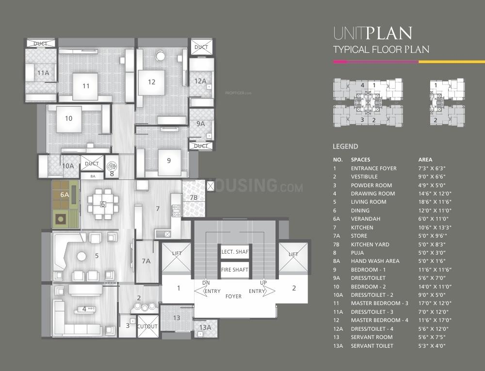 Friends Ville Floor Plan: 4 BHK Unit with Built up area of 3525 sq.ft 1