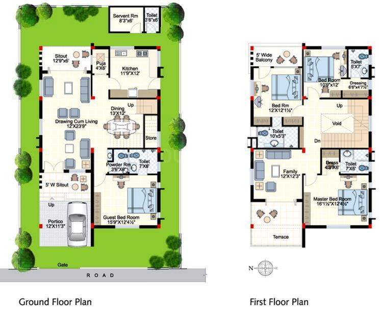 Indu Fortune Fields Villas Floor Plan: 4 BHK Unit with Built up area of 2940 sq.ft 1