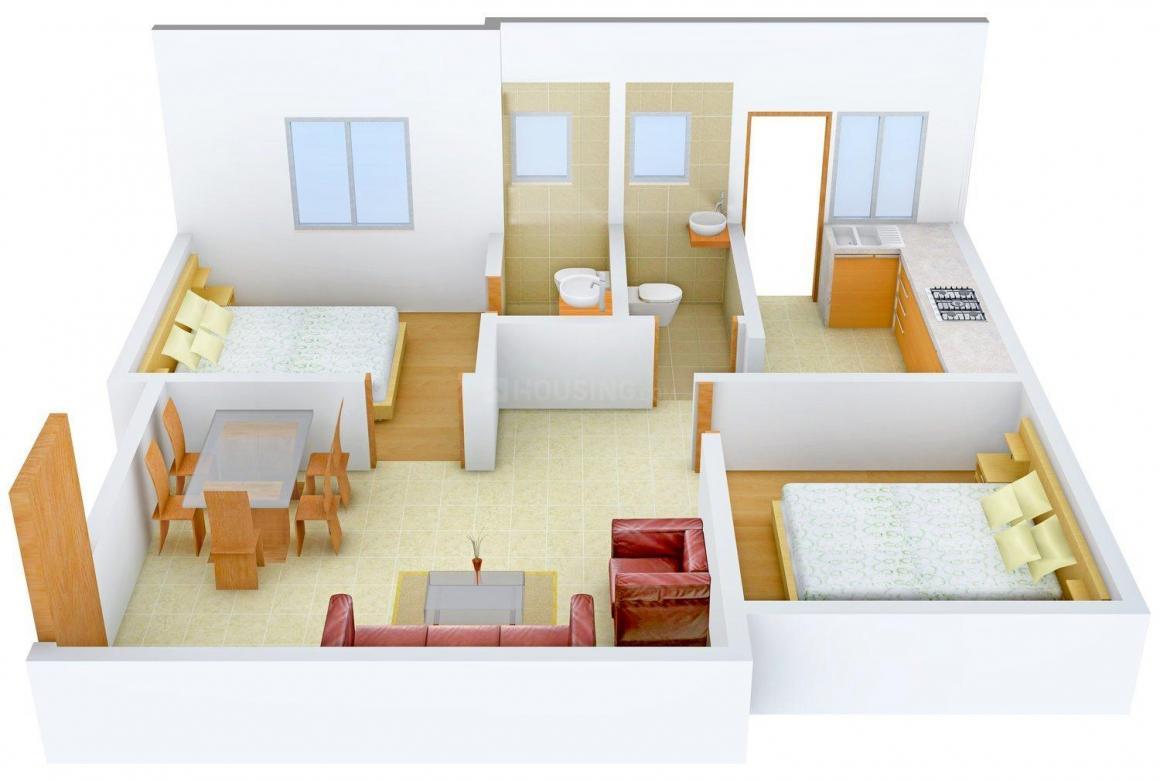 Shree Vishva Flats Floor Plan: 2 BHK Unit with Built up area of 763 sq.ft 1