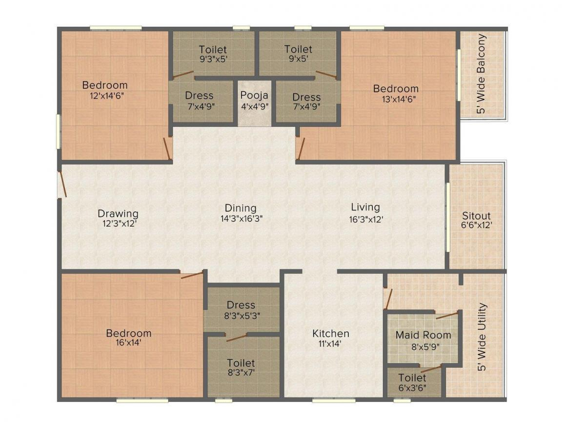 DSR Fortune Prime Floor Plan: 3 BHK Unit with Built up area of 2625 sq.ft 1