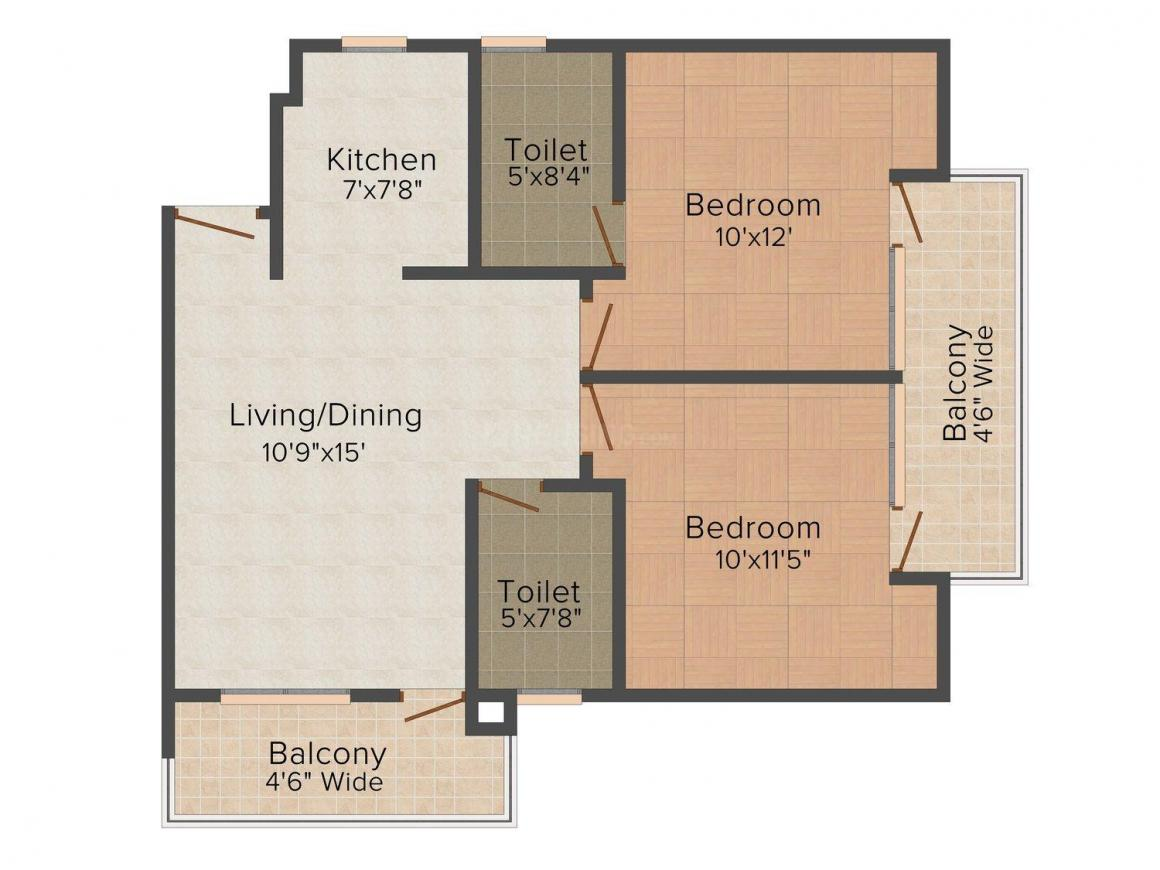 Floor Plan Image of 1015 - 1615 Sq.ft 2 BHK Apartment for buy in Venessa Venus Residency