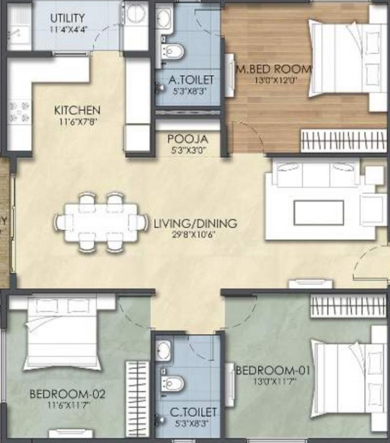 Suraksha Tranquil Gardens Floor Plan: 3 BHK Unit with Built up area of 1366 sq.ft 1