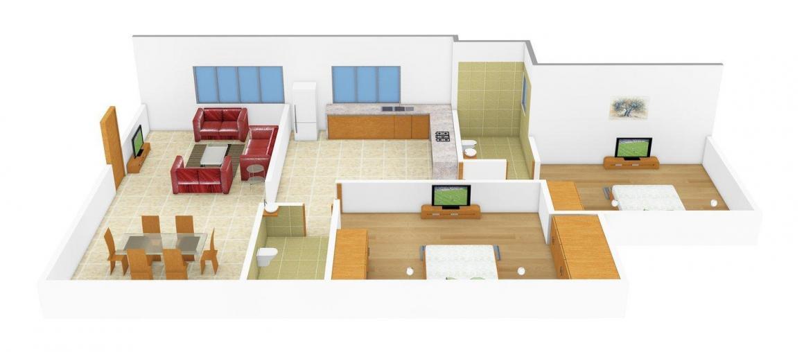Floor Plan Image of 975.0 - 1050.0 Sq.ft 2 BHK Apartment for buy in Aum Sugam