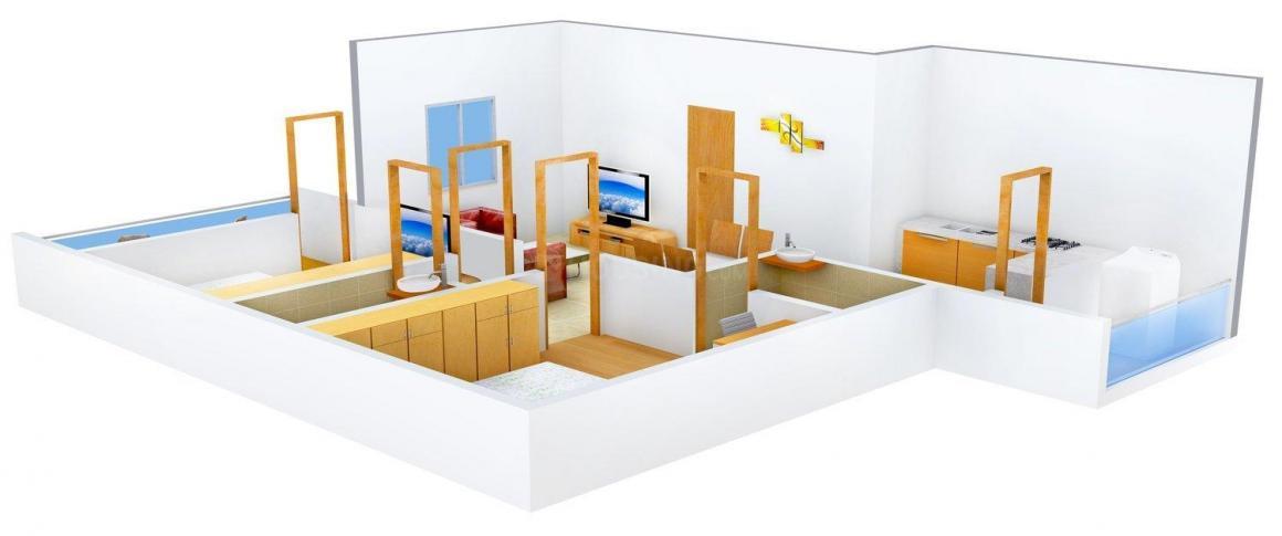 Floor Plan Image of 940 - 1000 Sq.ft 2 BHK Apartment for buy in Ekam 6