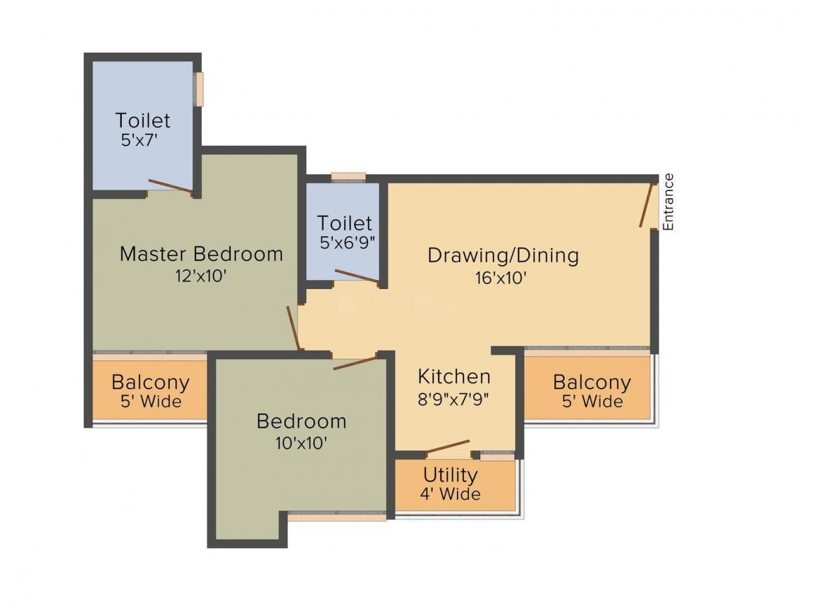 Amrapali Augusta Tower Floor Plan: 2 BHK Unit with Built up area of 910 sq.ft 1