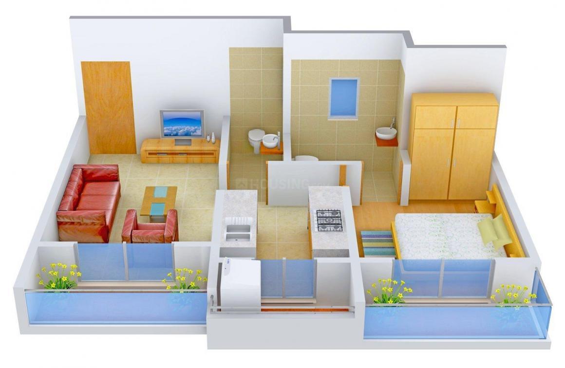 Tirupati Kasturi Vandana Floor Plan: 1 BHK Unit with Built up area of 665 sq.ft 1