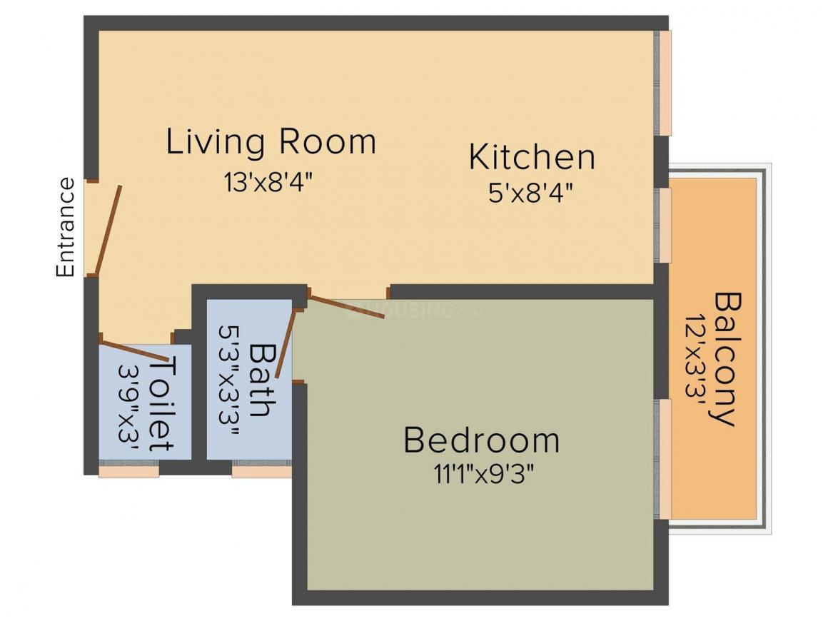 Landcraft Dinesh Nagar Floor Plan: 1 BHK Unit with Built up area of 432 sq.ft 1