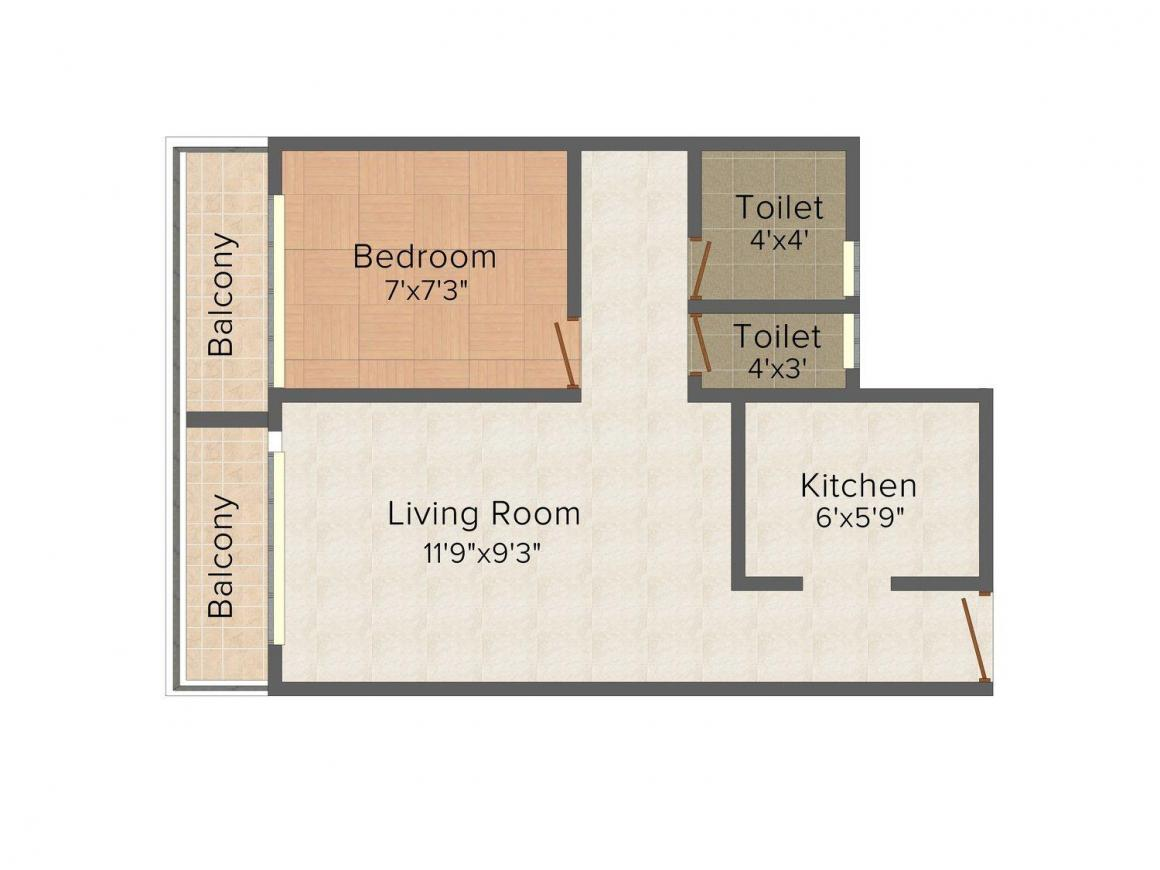Floor Plan Image of 485.0 - 575.0 Sq.ft 1 BHK Apartment for buy in Nutan Paradise