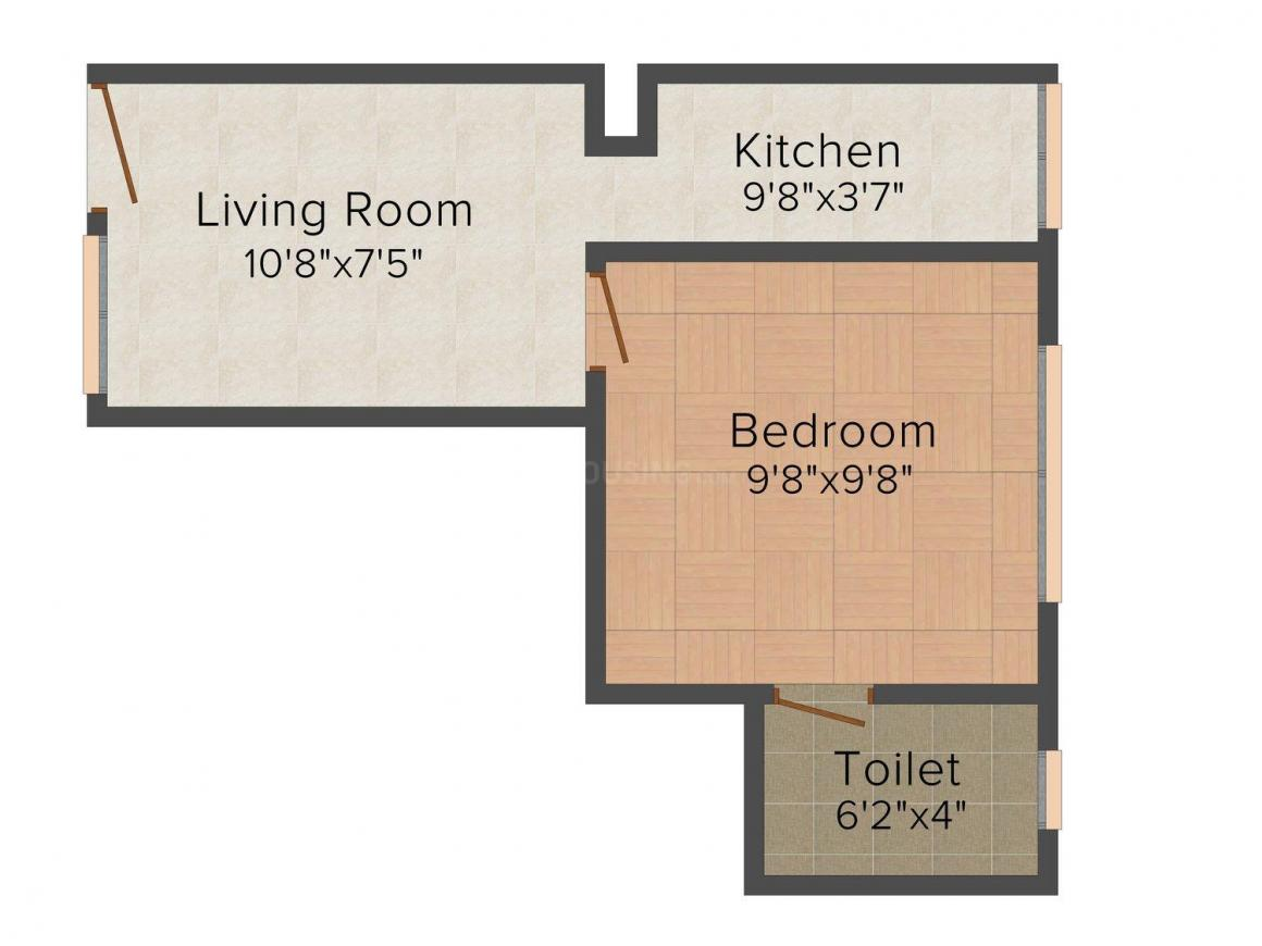 Galaxy Oxton Floor Plan: 1 BHK Unit with Built up area of 357 sq.ft 1