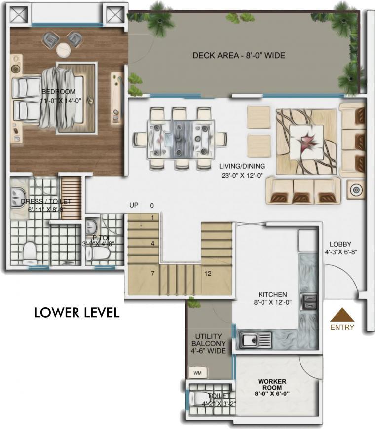 Aarcity Sky Villas Floor Plan: 3 BHK Unit with Built up area of 2350 sq.ft 2