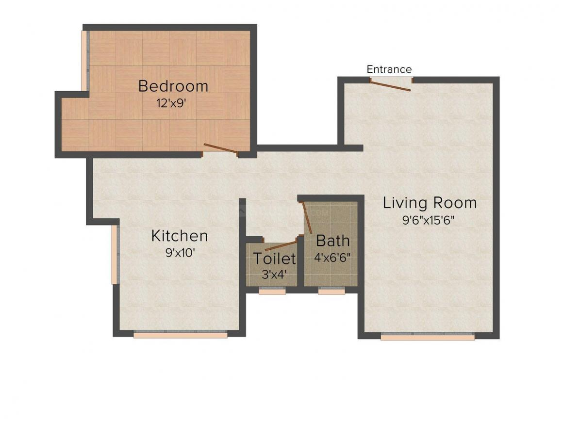 Floor Plan Image of 0 - 540 Sq.ft 1 BHK Apartment for buy in Gupta Silver Arch