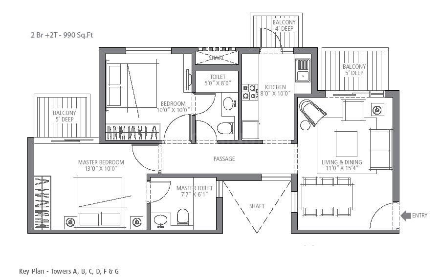 Emaar Emerald Estate Floor Plan: 2 BHK Unit with Built up area of 990 sq.ft 1